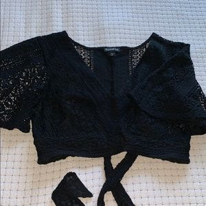 Express Lace Cropped Top with Tie back